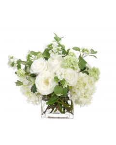 White and Green Rose Hydrangea Floral Arrangement in Glass Cube