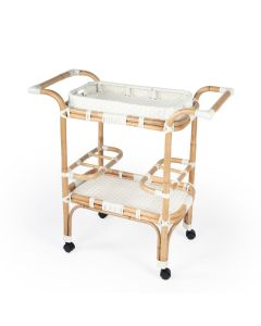 White and Natural Woven Rattan Serving Cart with Removable Tray
