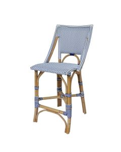 White and Navy Blue Bistro Counter Stool