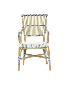 White and Navy Blue Bistro Natural Woven Arm Chair
