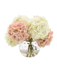 White and Pink Faux Hydrangea in Glass Vase