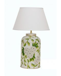 White Floral Chintz Tea Caddy Lamp
