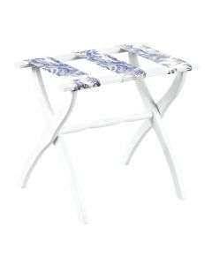 White Contour Leg Wood Luggage Rack With 3 Blue Toile Straps