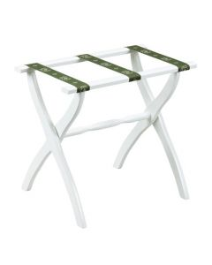 White Contour Leg Wood Luggage Rack with 3 Green Bee Straps