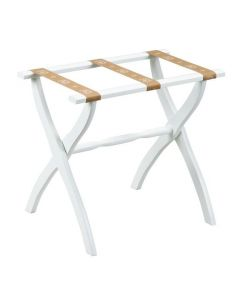 White Contour Leg Wood Luggage Rack with 3 Tan Bee Straps