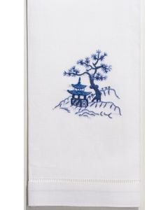 Set of 2 Canton Blue Embroidered Hand Towels