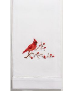 Set of 2 Cardinal Design Christmas Hand Towels