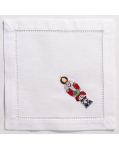 White Cotton Christmas Nutcracker Cocktail Napkins, Set of Four