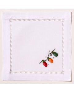 White Cotton Holiday Christmas Lights Cocktail Napkins, Set of Four