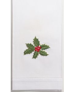 Set of 2 Holly Garland Christmas Hand Towels