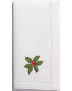 Set of 4 Holly Gold Christmas Dinner Napkins