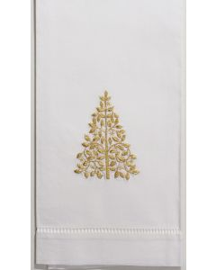 Set of 2 Mod Tree Gold Holiday Hand Towels