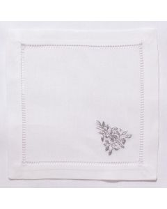 White Cotton Mod Tree Silver Christmas Cocktail Napkins, Set of Four