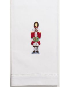 White Cotton Nutcracker Design Christmas Hand Towel, Set of Two