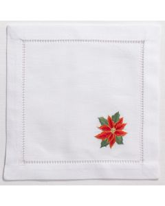 White Cotton Poinsettias Christmas Cocktail Napkins, Set of Four - FINAL STOCK, CALL TO CONFIRM AVAILABILITY