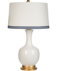 White Cracked Glaze White Ceramic Table Lamp with Gold Base and Greek Trim