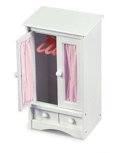 White Doll Armoire with Three Hangers - ON BACKORDER UNTIL MARCH 2021