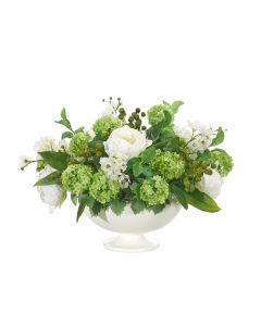 White Green Peony Snowball Arranged in Bowl