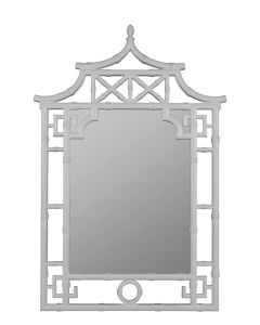 Glossy White Pagoda Bamboo Mirror - ON BACKORDER LATE-NOVEMBER 2020