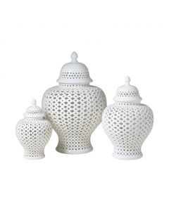 White Lattice Porcelain Lidded Ginger Jar – Available in 3 Sizes - SMALL AND MEDIUM ON BACKORDER UNTIL AUGUST 2020