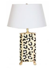 White Leopard Tole Table Lamp with Shade