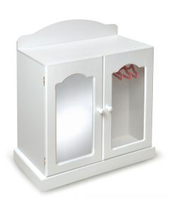 White Mirrored Doll Armoire with 3 Baskets and 3 Hangers