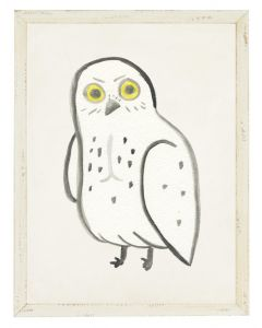 White Owl in Shadowbox Children's Wall Art - Available in Two Different Sizes
