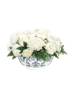 White Peony Arranged in Blue White Bowl