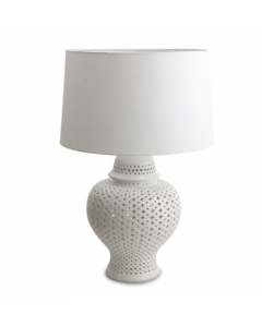 White Pieced Lattice Porcelain Table Lamp- available in 2 sizes