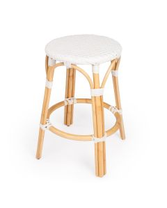 White Rattan Frame Counter Stool with Plastic Woven Seat- ON BACKORDER UNTIL MID AUGUST 2021