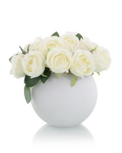 White Roses in White Textured Rose Bowl - LOW STOCK