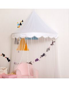 White Scalloped Hanging Canopy For Girls