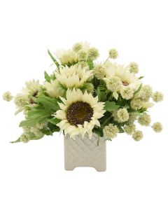 Faux White Sunflowers and Poms in Ceramic Vase