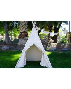 White Play Teepee With Floor Mat for Kids