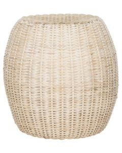 White Wash Rattan Accent Table - OUT OF STOCK