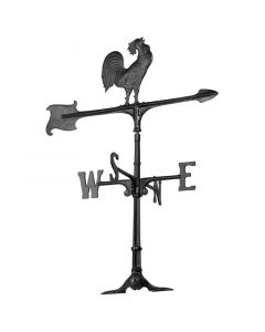 "Whitehall Products 30"" Black Aluminum Rooster Weathervane"