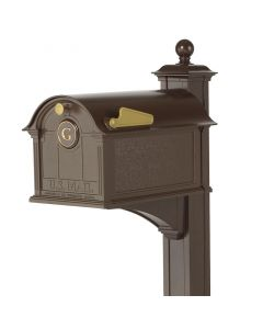 Whitehall Products Bronze Balmoral Mailbox One Letter Monogram and Post Package