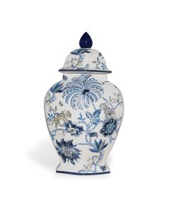 Williamsburg Collection Blue and White Large Floral Ginger Jar