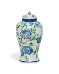 Williamsburg Collection Blue, Green and White Floral Ginger Jar
