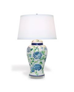 Williamsburg Collection Blue, Green, and White Floral Table Lamp