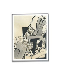 Woman on Chair Black & White Framed Wall Art Print