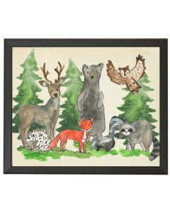 Woodland Animals Children's Watercolor Wall Art - Available in Three Different Sizes