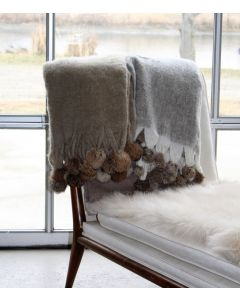 Wool Blend Mohair Trimmed Throw with Rabbit Fur Pom Poms - Available in Three Different Colors