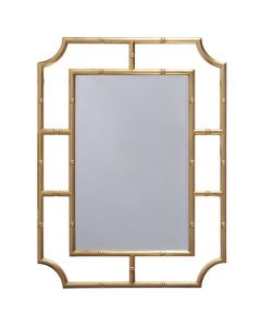 Worlds Away Marian Bamboo Frame Wall Mirror in Gold Leaf