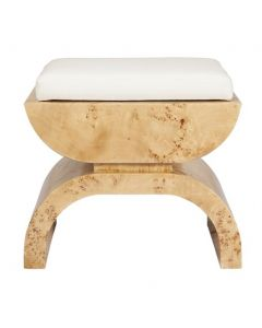 Worlds Away Biggs Burl Wood Stool with White Linen Cushion