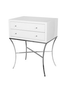 Worlds Away Elena Two Drawer Side Table in White Lacquer with Curved Silver Leaf Legs