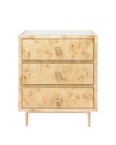 Worlds Away Hyde Barnaby Side Table in Burlwood with Gold Leaf Accents