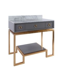 Worlds Away Owen Grey Lacquer Bathroom Vanity with Gold Leaf Base & White Marble Top