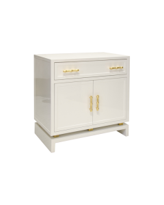 Worlds Away Marcus White Lacquer Two Door Nightstand
