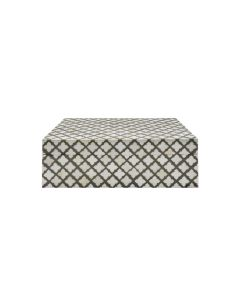 Worlds Away Aurora Quatrefoil Decorative Box in Grey and White Faux Bone